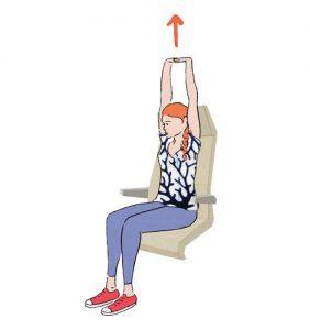 Exercícios para fazer no avião: espreguiçar