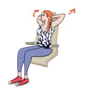Exercícios para fazer no avião: Mãos atrás da cabeça