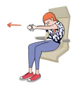 Exercícios para fazer no avião :Estique à frente