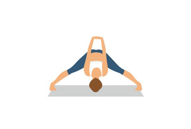 Posição de Flexão à frente com pernas afastadas