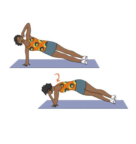 Exercícios para perder barriga: Prancha lateral com rotação